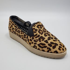 Andrew Stevens Fur Leopard Print Slip On Shoe Boho